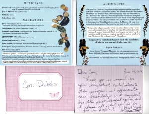 Glenda Luck Album Manisses Cover w note to Coni Dubois 6-24-14