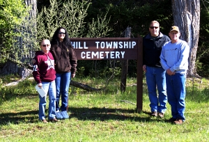 5/13/13 Hill Township Cemetery - most of the bodies were removed to Oak Grove Cemetery - L2R - Polly Goodwin, Coni Dubois, Terry & Ron Allen