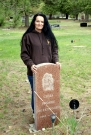 5/13/13 Me at Chief Sodney's tombstone at Esmond Evergreen Cemetery (Photo taken by Jim Goodwin)