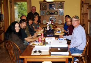 5/13/13 Cookout in Hale Michigan - Hosted by Jerry & Mary Hewitt - Prayer given by Jerry Hewitt - L2R Me, My husband Jay Dubois, Terry Allen his wife Diane Allen, Mary & Jerry Hewitt - Rona Sullivan, Polly Goodwin & Ron Allen (Photo taken by Jim Goodwin husband of Polly)