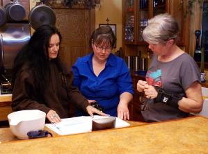 5/13/13 @ Hewitt Home - Rona Sullivan (Barber Descendant) & Mary Hewitt discussing Chief Sodney (Photo taken by Jim Goodwin)
