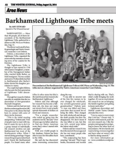 8-22-14 - Barkhamsted Lighthouse Tribe meets - Winsted Journal -  By Amy Steward