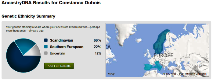 1/10/13 Coni Allen Dubois Ethnicity Test done by ancestry.com