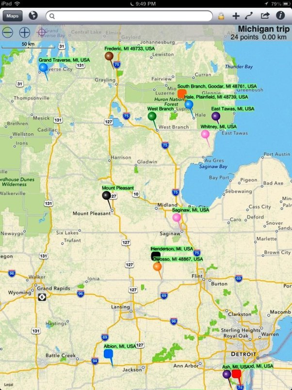 May 2013 trip route