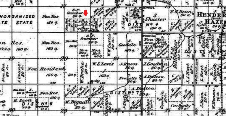 1875 Beers Map of Rush Shiawassee Michigan with Allen A & Clarinda Short - Porter homestead 20 acres