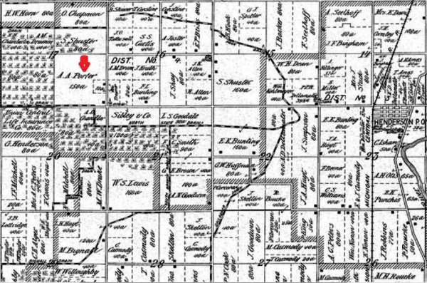 1895 Beers Map of Rush Shiawassee Michigan with Allen A & Clarinda Short - Porter homestead 150 acres