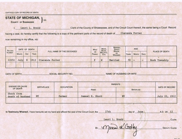 Clarinda Short Porter Death Certificate typed - from Coni's files