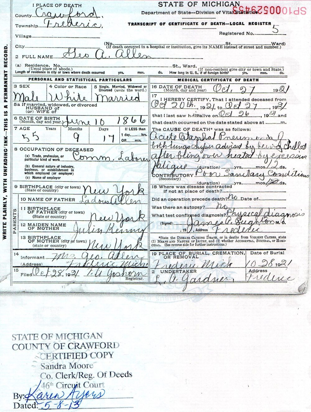 Death Certificate Hartford Ct