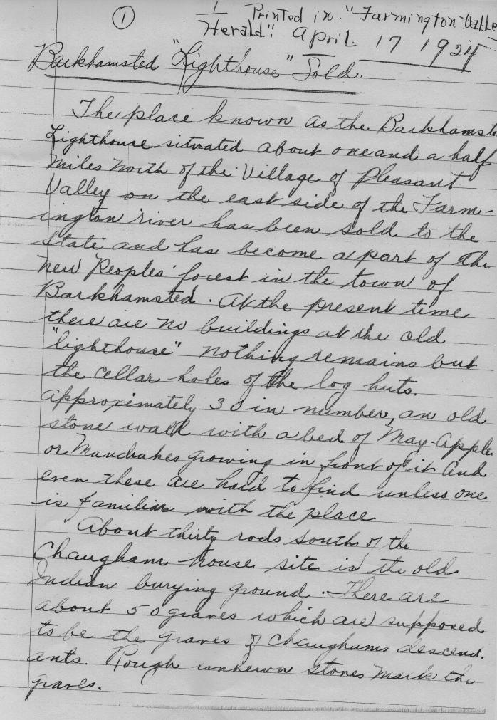April 17, 1924 - Barkhamsted Lighthouse Sold 1
