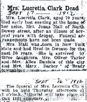 Owosso Argus-Press Owosso MI - Lucretia (McArthur) Clark Obit - Donated by Polly Goodwin