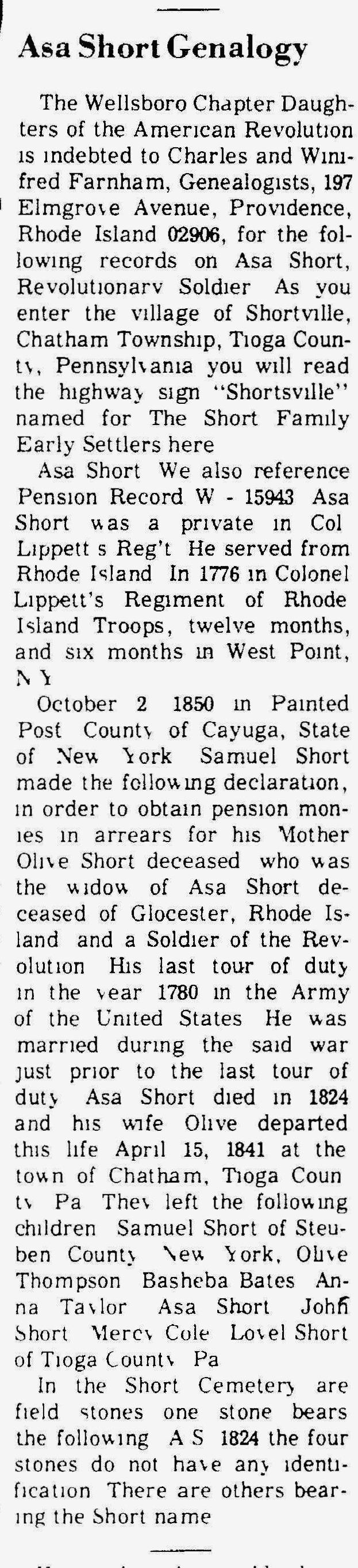 June 14, 1973 Asa Short Genalogy - The Wellsboro Gazette (Wellsboro, Pennsylvania)