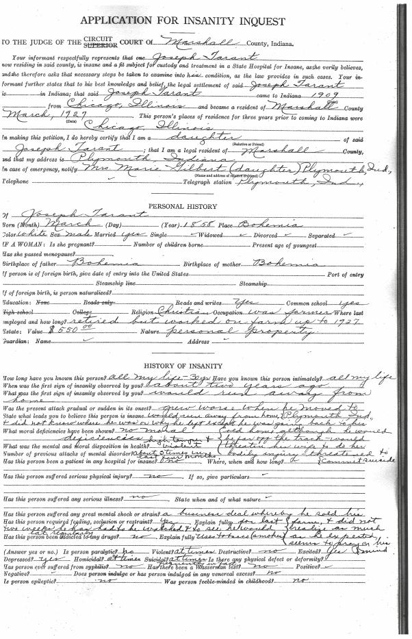 Joseph Tarant Insanity Form 1
