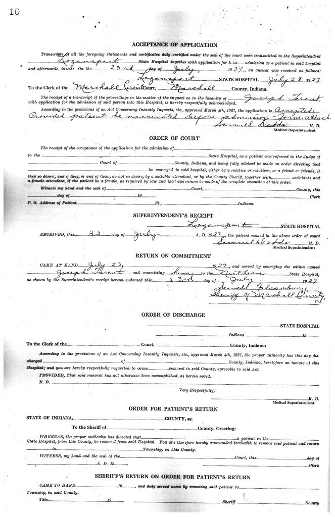 Joseph Tarant Insanity Form 3