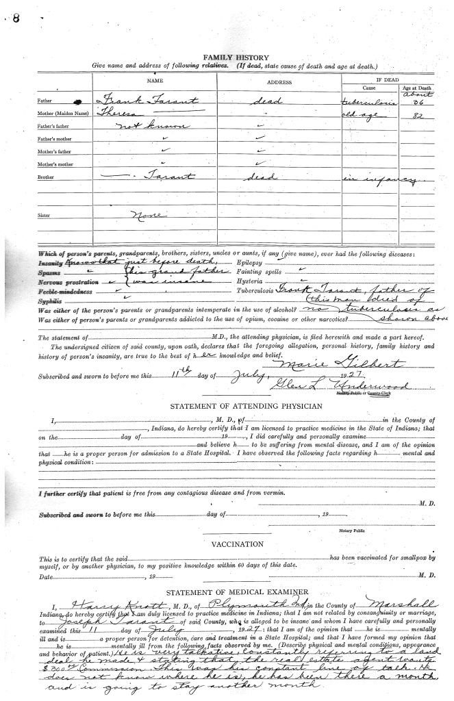 Joseph Tarant Insanity Form 2