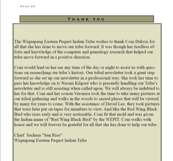 "Wiquapaug Eastern Pequot Newsletter May 2014 - VOl 16 # 2 A Thank You to me from Chief ""Sun Rise"" Byron Brown & the Tribe"