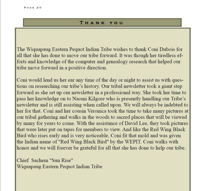 """Wiquapaug Eastern Pequot Newsletter May 2014 - VOl 16 # 2 A Thank You to me from Chief """"Sun Rise"""" Byron Brown & the Tribe"""