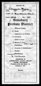Connecticut, Wills and Probate Records, 1609-1999 for Mary Chogum