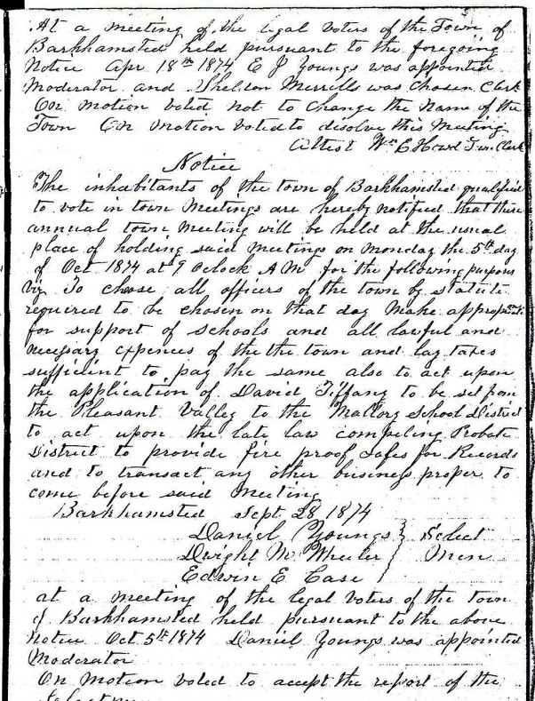 April 18, 1874 - Town Meeting Notice