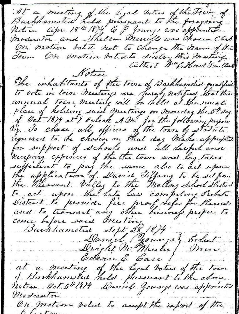 April 18, 1874 - Town Meeting Notice