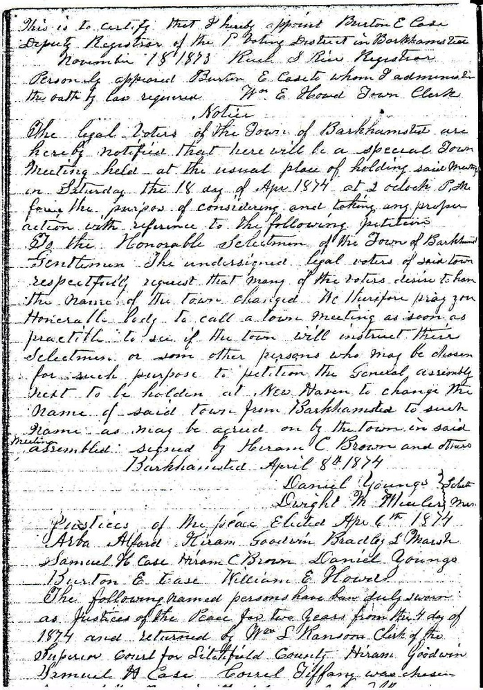 April 6, 1874 - Town Meeting Notice
