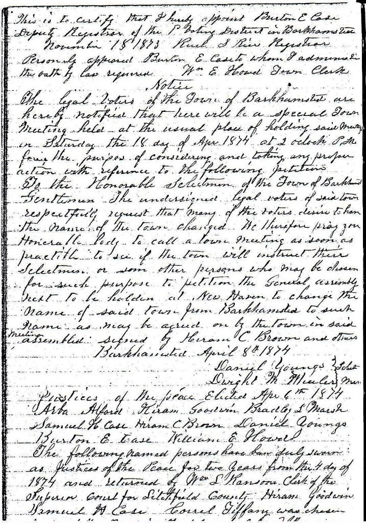 April 6, 1874 - Town Meeting Notice