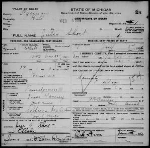 1916 Julia Keeney Kinney Short Death Record