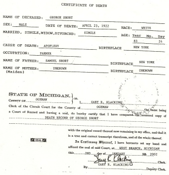 George Short Death Certificate