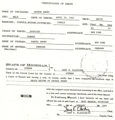 George Short Death Certificate