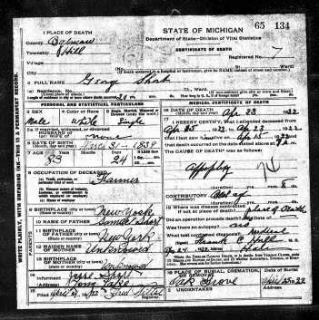 George Washington Short Death Certificate