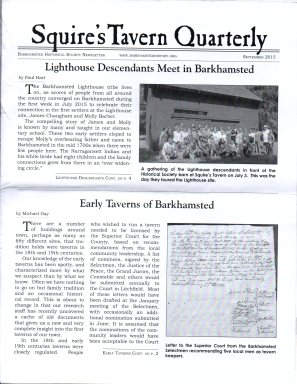 Sept 2015 - Front Page -Squires Tavern Quarterly - BHS