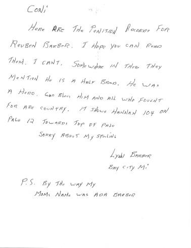 Note by Lynn Dubois