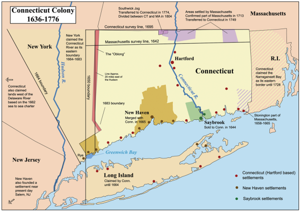 Connecticut, New Haven & Saybrook Settlements 1636-1776