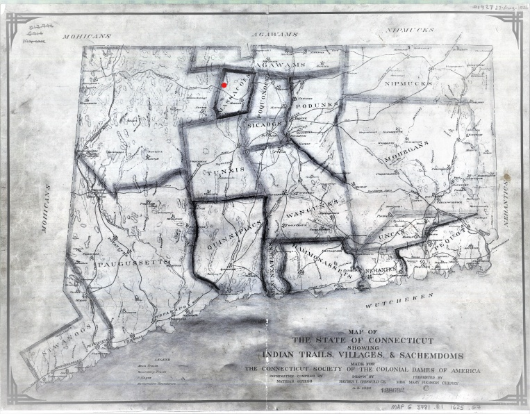1625 Map of The State Of Connecticut - Indian Trails, Village & Sachemdom